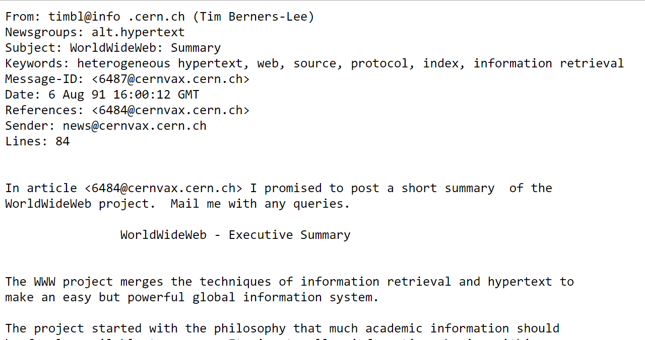 WorldWideWeb: Summary (Tim Berners-Lee)