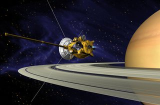 PIA03883: Artists's Conception of Cassini Saturn Orbit Insertion